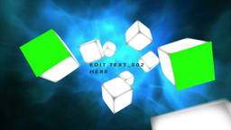 Cubes rolling in the air with chroma key and text  Animation