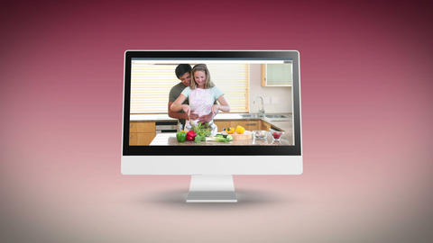 Couples cooking together in a kitchen Stock Video Footage