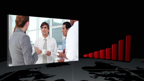 Videos of business next to statistic animation Animation