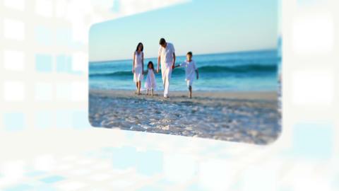 Family enjoying their summer at beach Animation