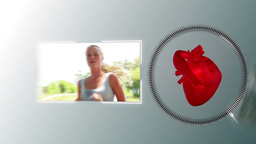 Video of a woman jogging with a heart animation Animation