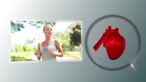 Video of a woman jogging with a heart animation Stock Video Footage