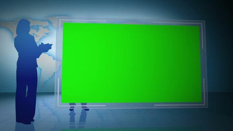 Business people silhouettes with screen in chroma Stock Video Footage