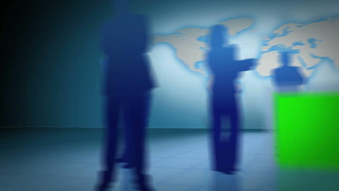 Business people silhouettes with screen in chroma  Animation