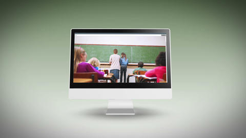 Videos of a classroom on a computer screen Stock Video Footage