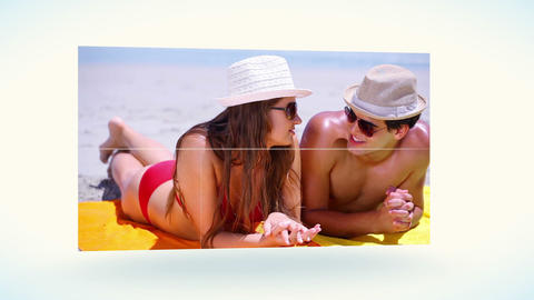 Couple tanning on the beach Stock Video Footage