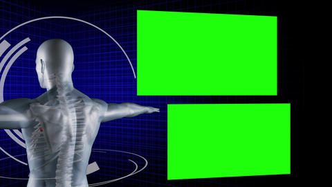 Man digitally created with chroma key screens Animation