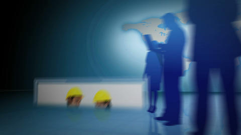 Businessmen and women working together Animation