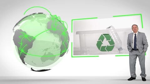 Recycled plastic bottles with an Earth image court Animation