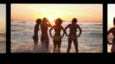 Friends standing on the beach Stock Video Footage