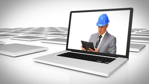 Architects working on a construction site Stock Video Footage