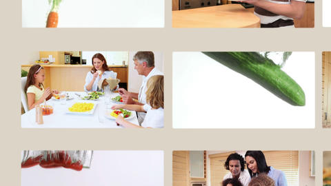 People eating vegetables and healthy food Animation
