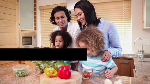 Families preparing their meals Stock Video Footage