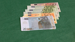 Bank notes in super slow motion appearing Footage
