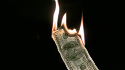 Bank note in super slow motion burning Stock Video Footage