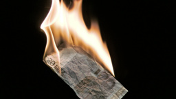 Euro note in super slow motion burning Footage