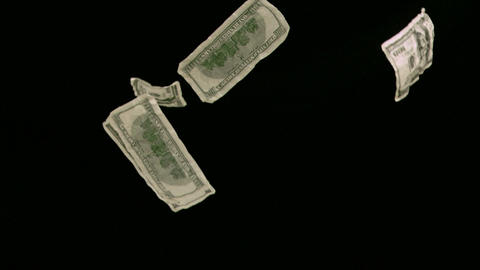 Bank notes in super slow motion dropping Stock Video Footage