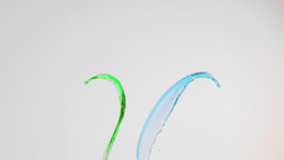 Green and blue lines in super slow motion rising Stock Video Footage