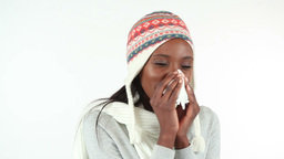 Woman sneezing Stock Video Footage