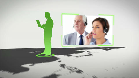 Call centre all around the world with an earth ima Stock Video Footage