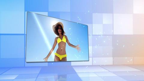 Woman in bikini dancing on the beach Animation