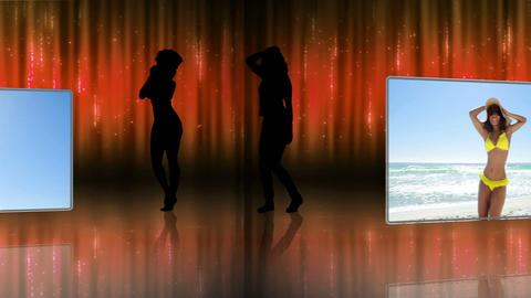 Silhouettes and videos of women dancing Animation