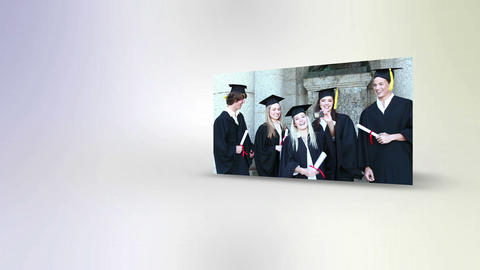 Students throwing their mortarboards Animation