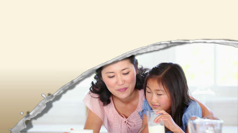 Videos of an Asian family drinking milk Animation
