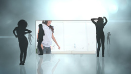 Female silhouettes and women dancing Animation