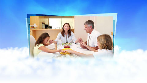 Videos of a family saying grace on clouds Stock Video Footage