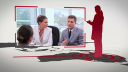 Business people silhouettes on different continent Stock Video Footage