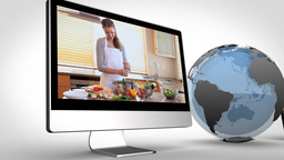 Videos of healthy cooking on devices with an earth Animation