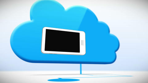Cloud connected with smartphones with black screen Animation