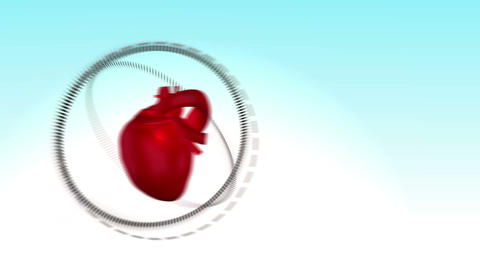 Video of a heart beating next to a woman doing spo Animation