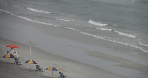 1817 Raining at the Beach with No People, Yellow U Stock Video Footage