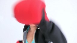 Woman boxing quickly Footage