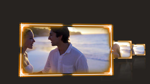 Videos of couple under the sunset against a black Stock Video Footage