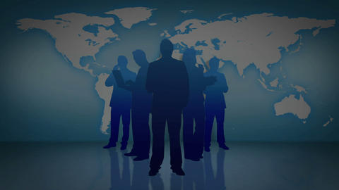 Animation of business people silhouettes with an e Stock Video Footage