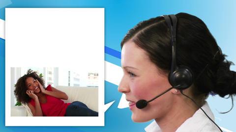 Women calling a help center Animation