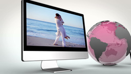 Video of multimedia with a pink Earth image courte Stock Video Footage