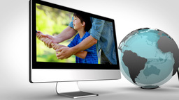 Video of family on multimedia with a blue Earth im Animation