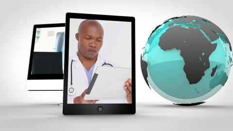 Video of doctors in multimedia with an Earth image courtesy of Nasa.org Animation