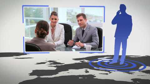 Videos of business people next to a map with Earth Stock Video Footage
