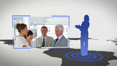 Videos of business people next to a map with Earth image courtesy of Nasa.org Animation