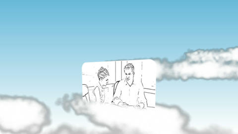 Cartoon type videos of business in the sky Stock Video Footage