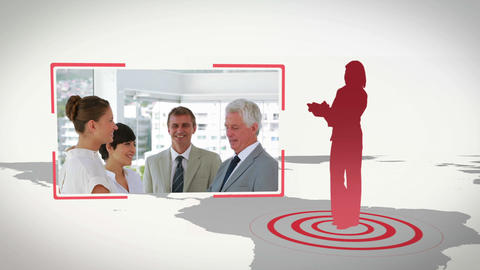Videos of business people working in an office wit Animation