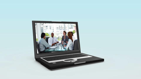 Videos of business people on two laptops Animation