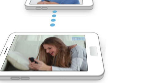 Video of young people in a smartphone Animation