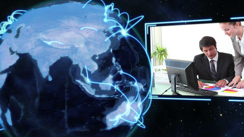 Business videos with Earth image courtesy of Nasa.org Stock Video Footage