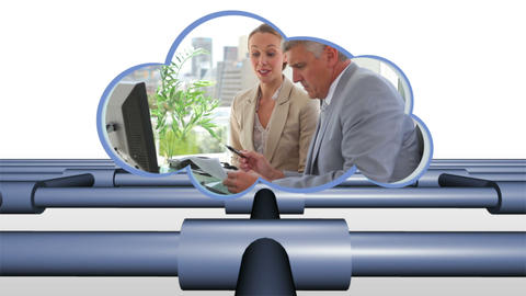 Business videos in a cloud Stock Video Footage